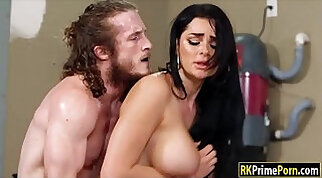 Big tits brunette fucked in the garage