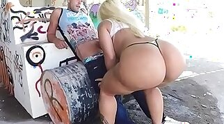Chubby blonde with a huge ass gets anally fucked
