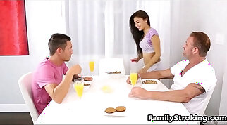 Family Threesome - Step Dad, Daughter and Son - hothothot.pro