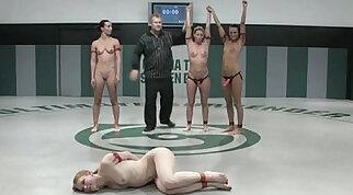 Naked girl wrestling in ring
