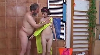bewitching teens have a steamy sex while faking in the shower