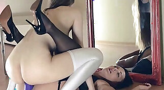 Two Sisters Take On One Huge Dildo