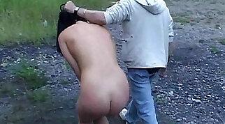 Brunette mistress makes her New slave lick her tits