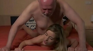 Young Secretary evaluation old man boss fucks horny young girl