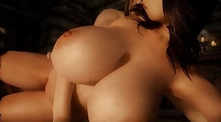 3D animated babe with curvy huge tits blowjob and rides huge black dick