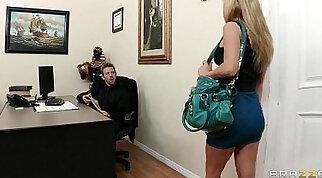 Attractive busty brunette Kendall Harper seduces a hung boss