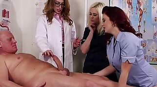 Bootyful CFNM nurse wanks her big dick