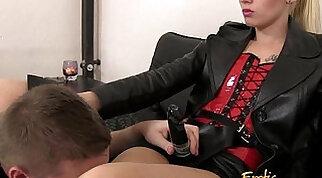 Slave Sucks His Mistresses Big Strap