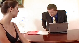 Secretary fucking client in thigh high stockings