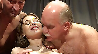 Blonde young tramp giving herself an after work orgy