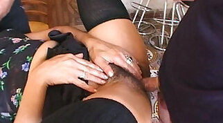 Beurette babe gets her hairy cunt gaped