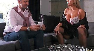 Busty blonde milf seduced and fucked
