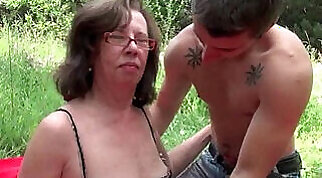 Granny gets asshole invaded outdoors