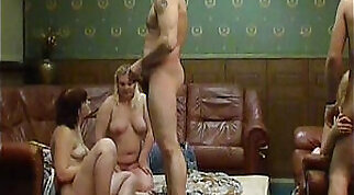 Chesty asian Babe Gangbang With A Swing