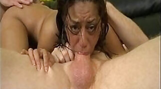 Captivating Latin chick gets three dicks squeezed by blond coworkers